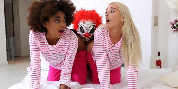 Luna Corazon and Daisy Lee in Evil Clown Attacks Two Girlfriends F Image